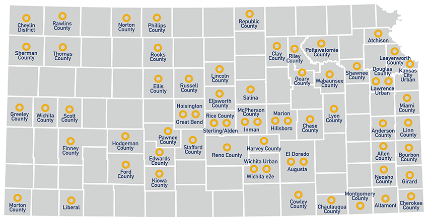 NetWork Kansas E-Communities Map